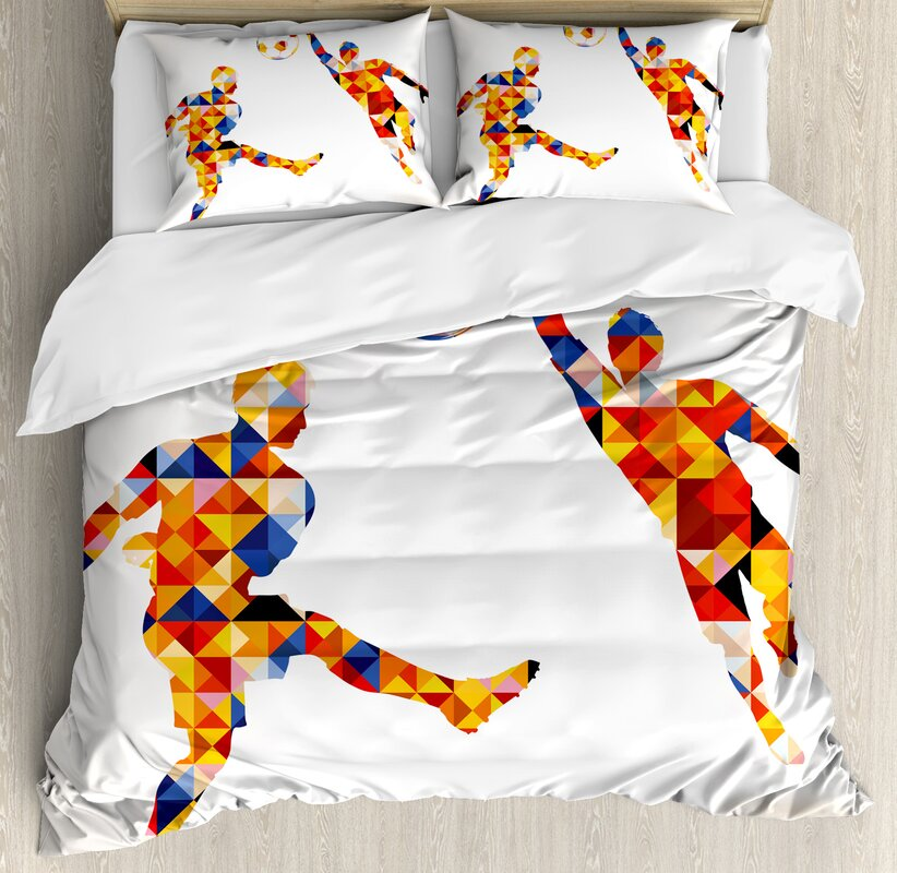 Sports Abstract with Football Soccer Players in Geometrical Colorful Shapes Print Duvet Cover Set