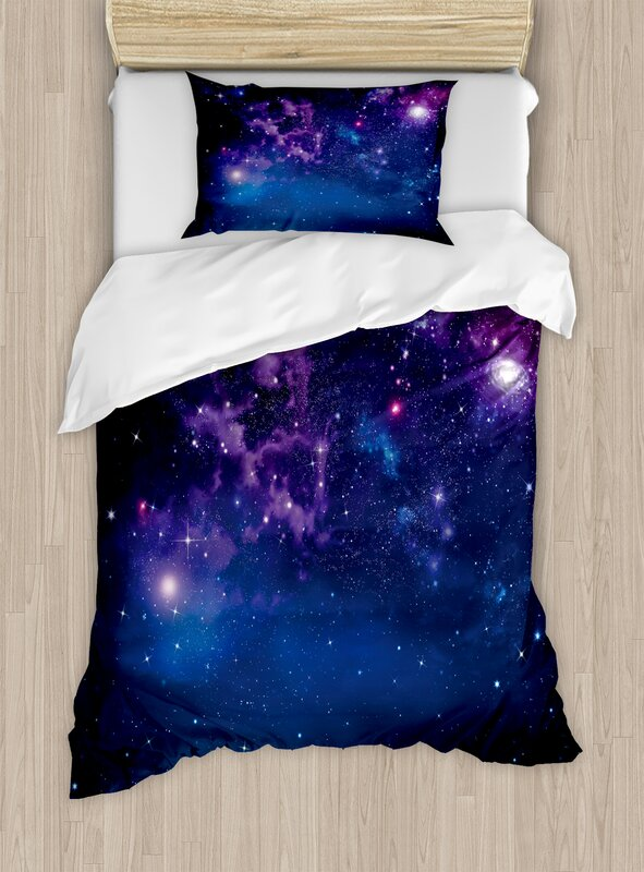 Space Milky Way Themed Dark Matter with Star Field Light Years Sci Fi Travel Display Duvet Cover Set