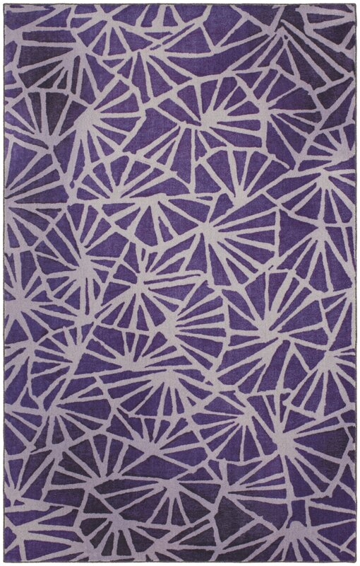 Crase Four Corners Eggplant Purple Area Rug