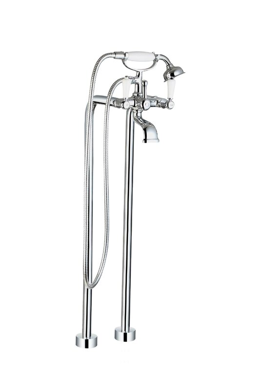 Ancona Double Floor Mounted Clawfoot Tub Faucet with Hand Shower