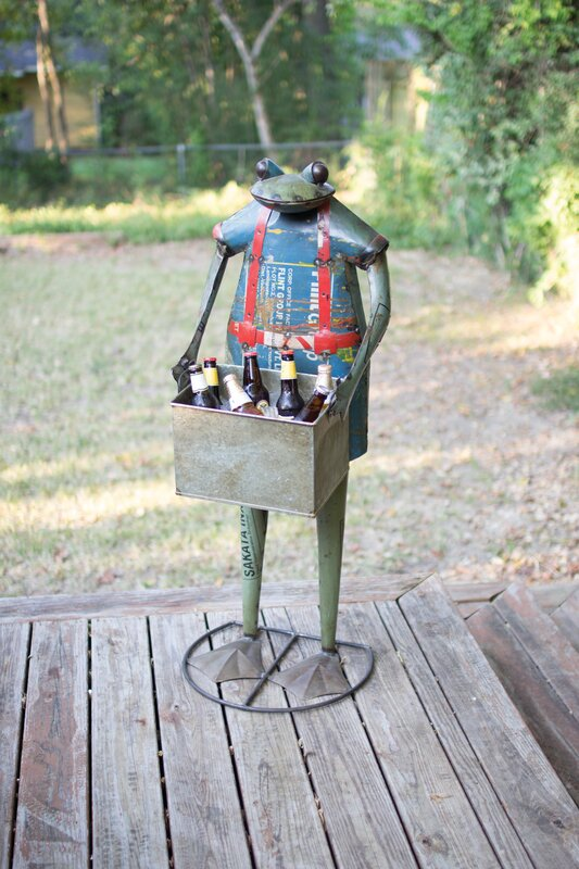Morua Recycled Metal Standing Frog Beverage Tub
