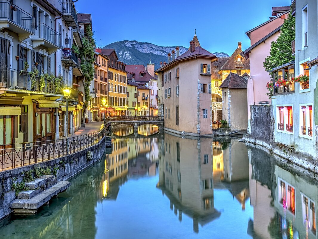 "Quai De L'ile and Canal in Annecy Old City Non-Woven 11.8' L x 106"" W Wall Mural"