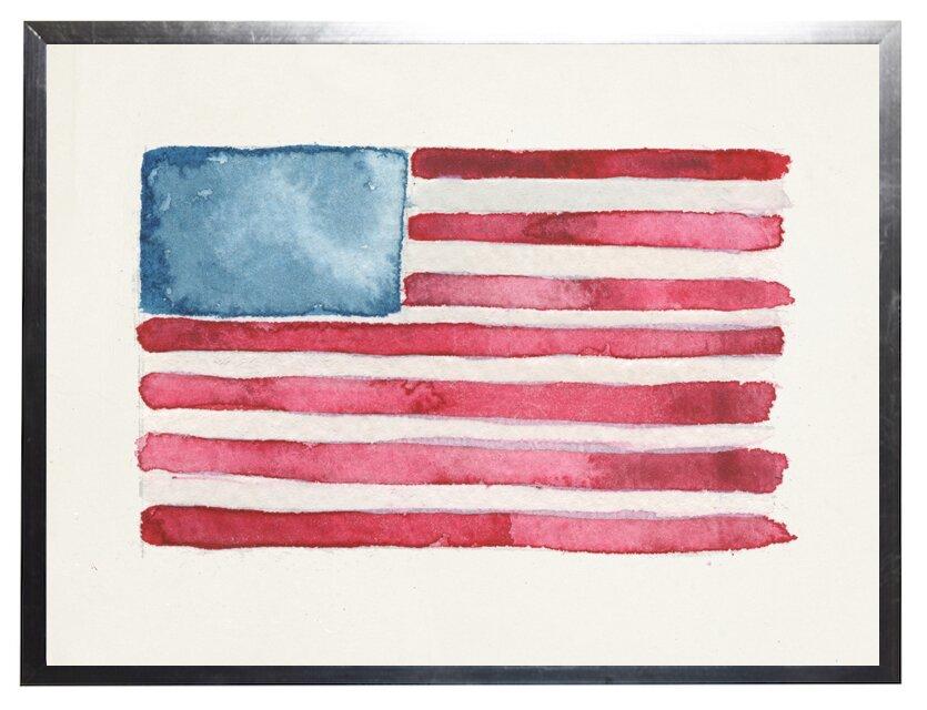 'American Flag' Framed Watercolor Painting Print