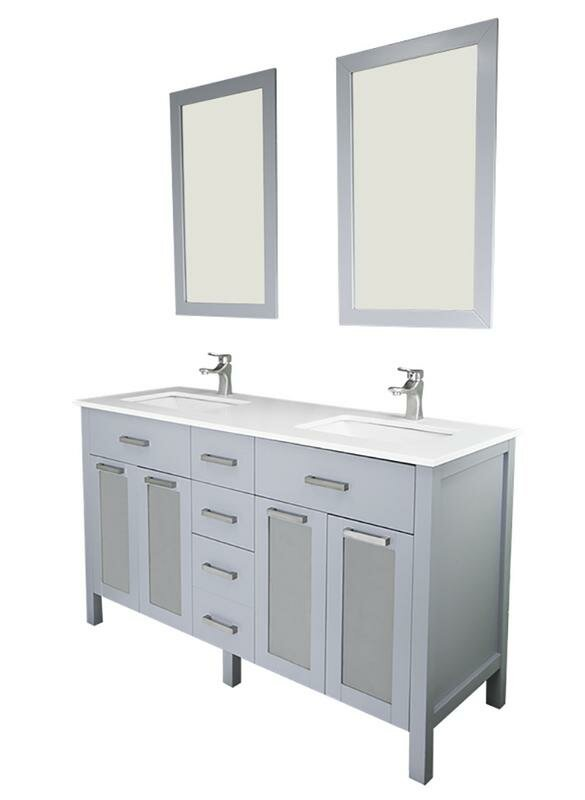 "Drake 72"" Double Bathroom Vanity Set with Mirror"