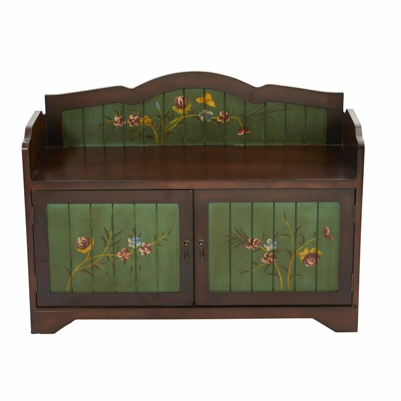 Cuellar Antique Floral Wood Storage Bench