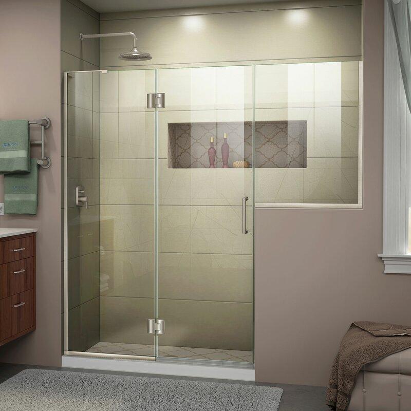 Unidoor-X 72-72 1/2 in. W x 72 in. H Frameless Hinged Shower Door