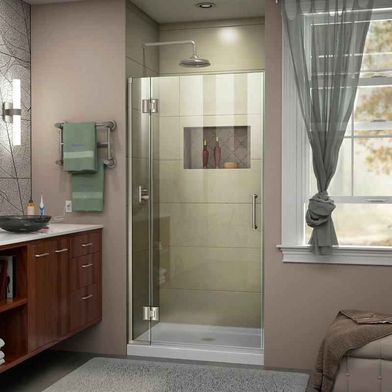 Unidoor-X 33 in. W x 72 in. H Frameless Hinged Shower Door