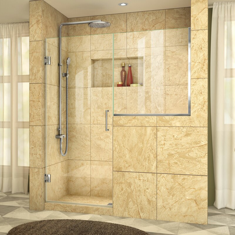 """Unidoor Plus 60.5"""" x 72"""" Hinged Frameless Shower Door with Clearmax™ Technology"""