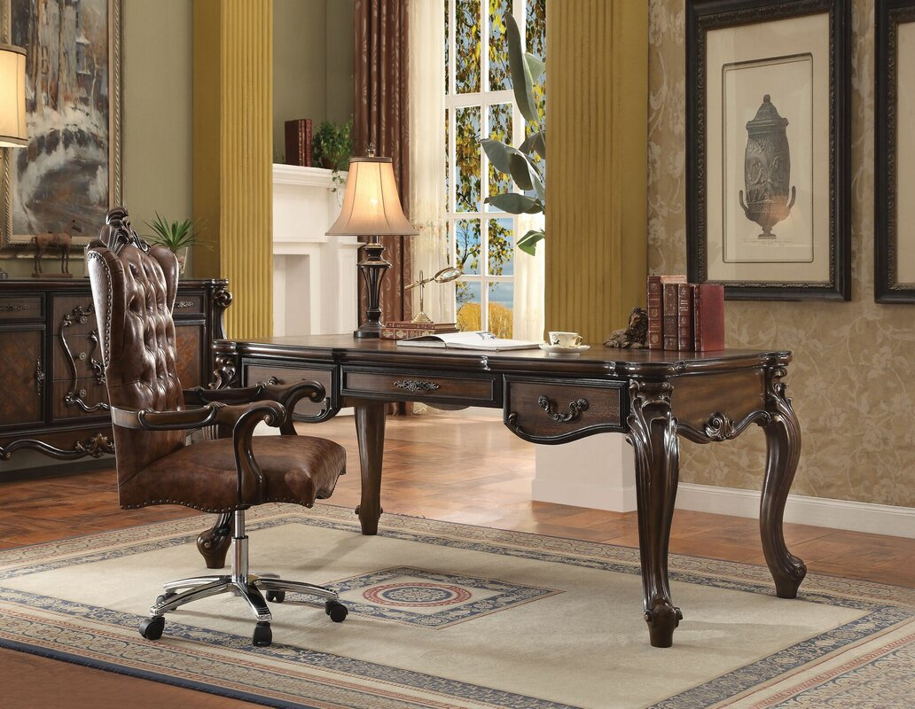 Mallon Executive Desk Set with Hutch and Chair Set