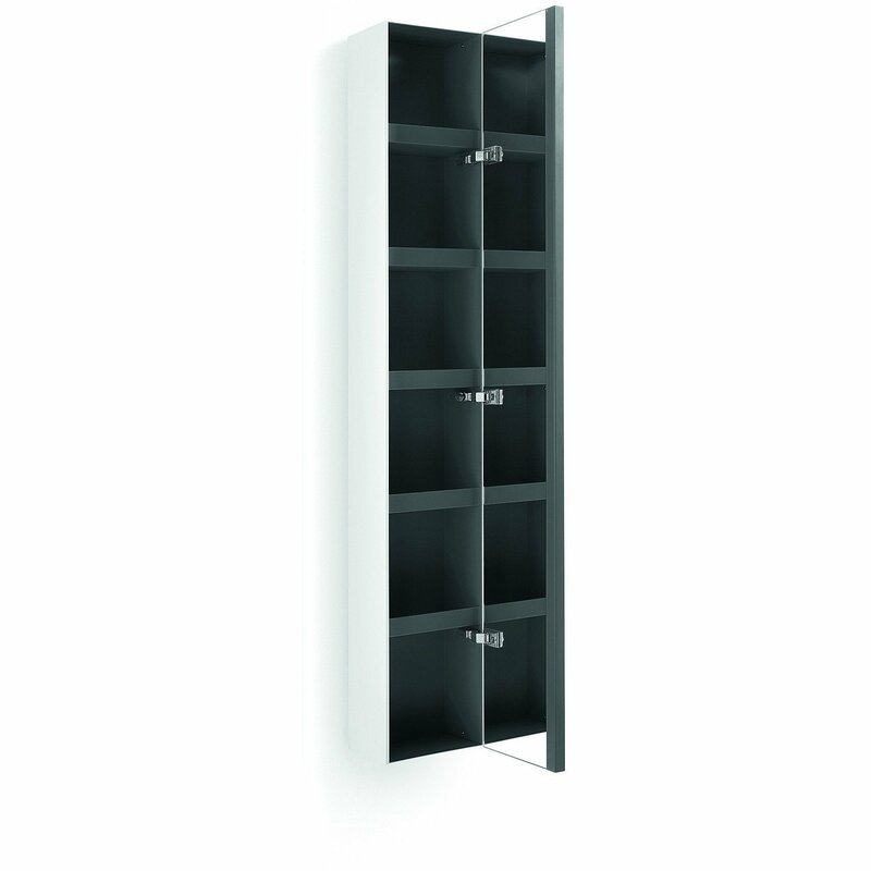 """Scotia 10.4"""" W x 62.6"""" H Wall Mounted Cabinet with Mirror Door"""