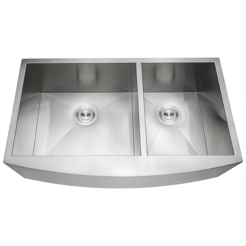 """33"""" L x 20"""" W Double Basin Farmhouse/Apron Kitchen Sink with Sink Grid and Basket Strainer"""