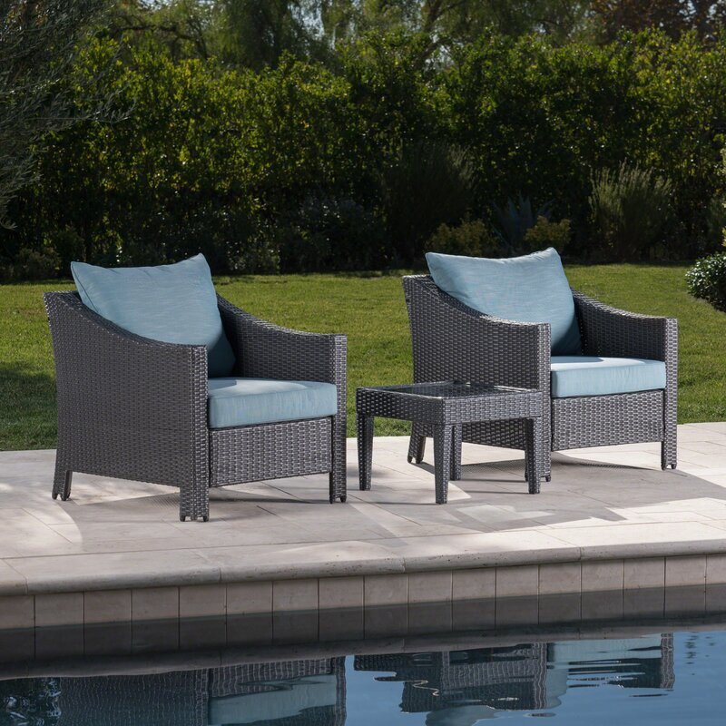 Orellana 3 Piece Rattan Conversation Set with Cushions