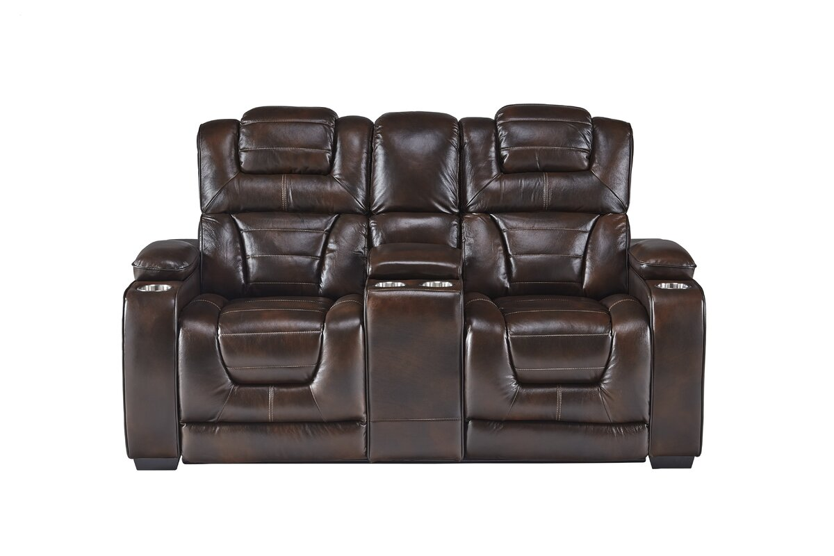 Heiner Leather Home Theater Loveseat