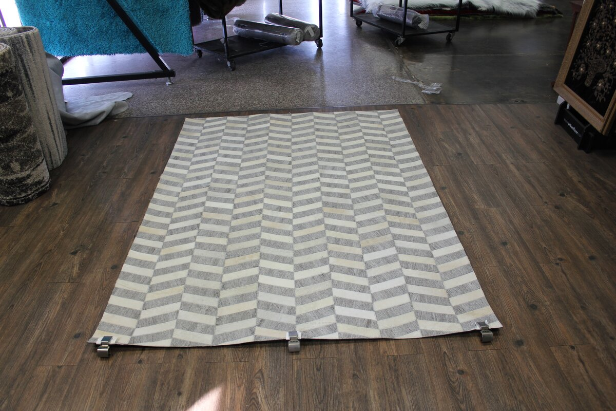 Grieco Hand-Woven Cowhide Gray Area Rug