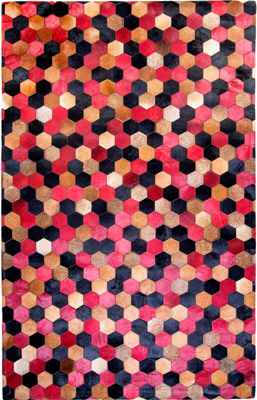 Hosford Cowhide Red/Black Area Rug