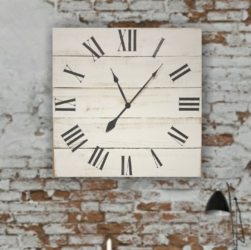 Mauriello Oversized Square Classic Farmhouse Wall Clock