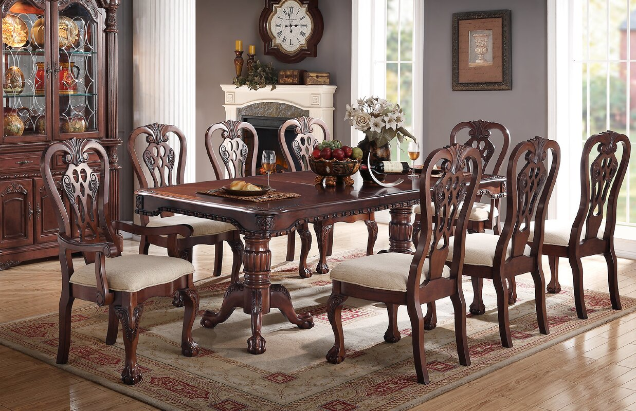 Prager 9 Piece Drop Leaf Solid Wood Dining Set