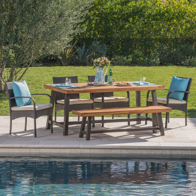 Warkentin Outdoor 6 Piece Dining Set with Cushions