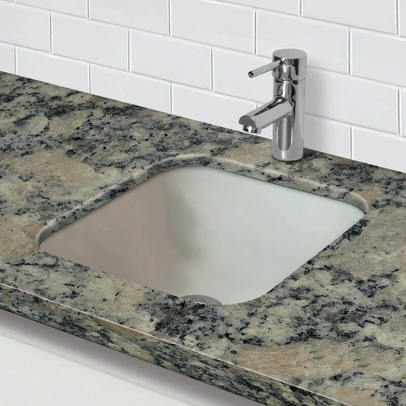 Translucence Glass Square Undermount Bathroom Sink