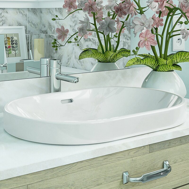 Ava Classically Redefined Ceramic Oval Vessel Bathroom Sink with Overflow