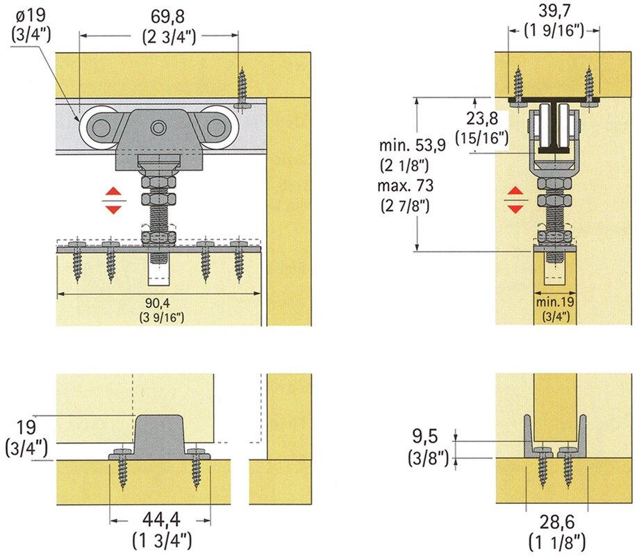 TopLine 71-222 Standard Single Barn Door Hardware Kit