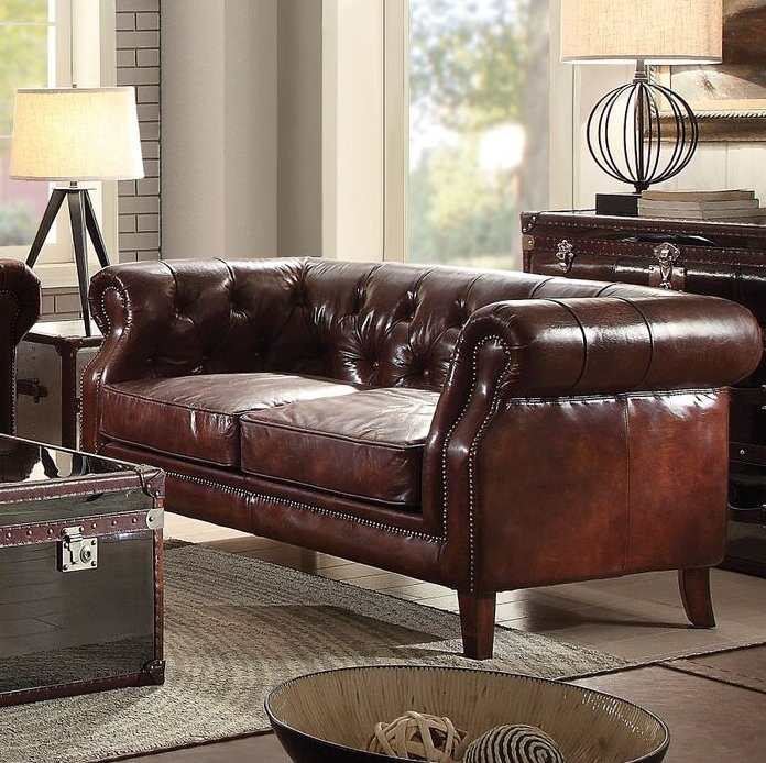 Drage Leather Loveseat