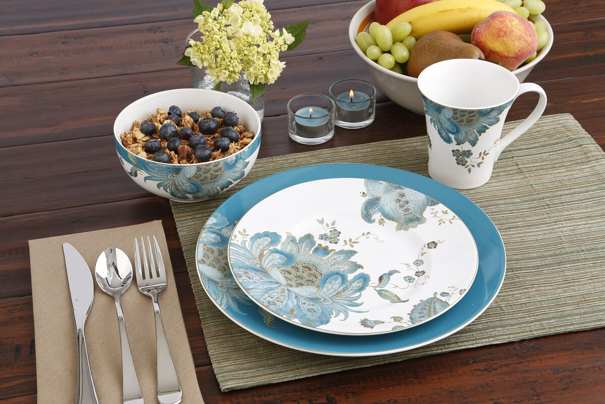 Eliza Teal 16 Piece Dinnerware Set, Service for 4