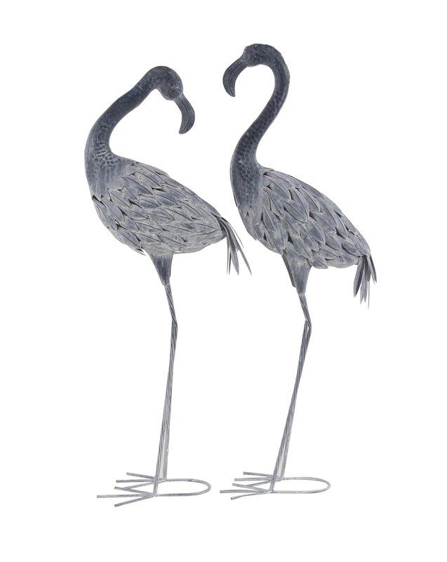 Hobner Flamingo Metal 2 Piece Figurine Set
