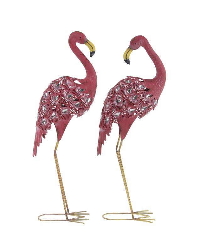 Swynford Flamingo Metal 2 Piece Figurine Set
