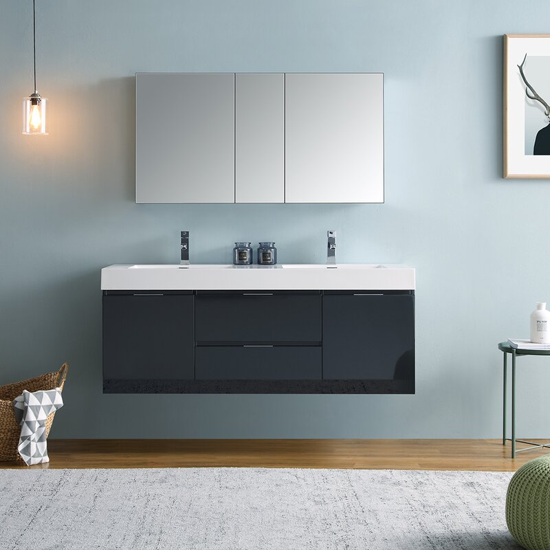 "Senza Valencia 60"" Wall Mounted Double Bathroom Vanity Set"