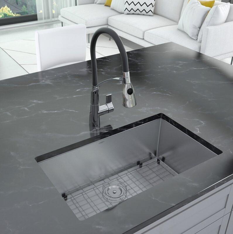 "Prestige Series 30"" L x 18"" W Undermount Kitchen Sink with Faucet"