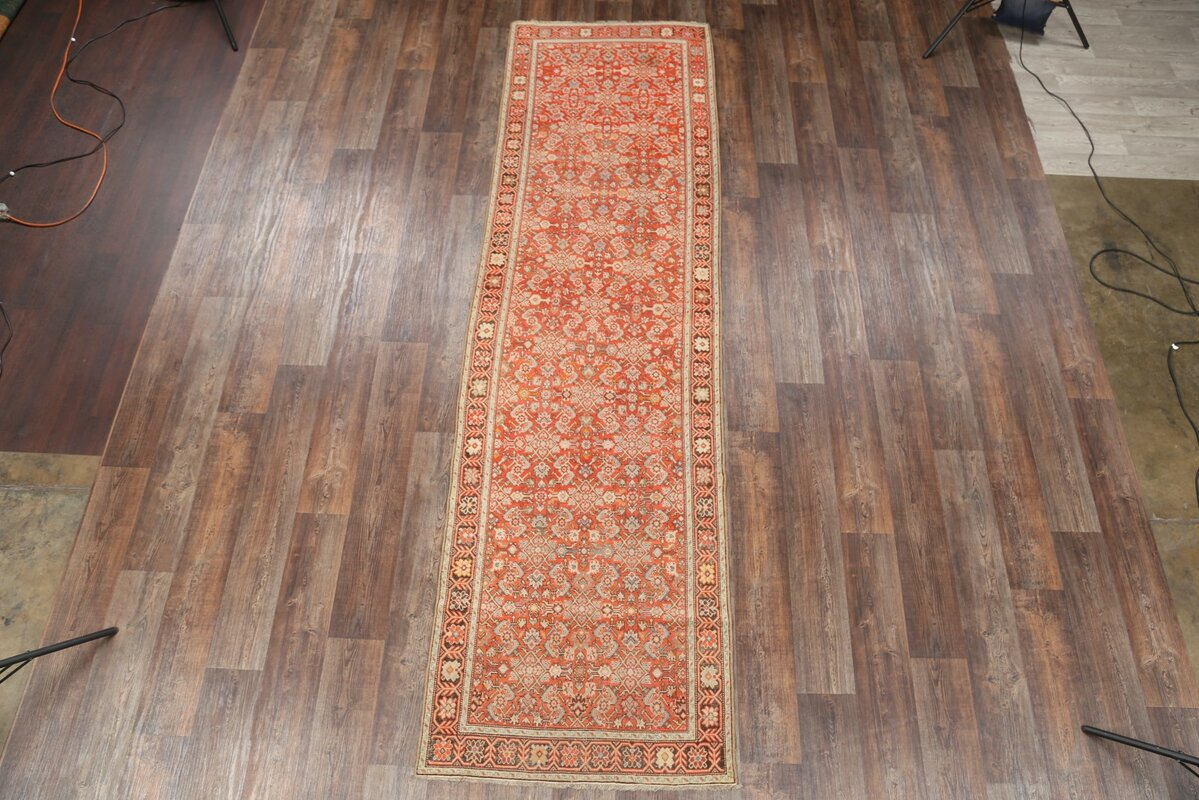 Birdsview Caucasian Kazak Russian Oriental Hand-Knotted Wool Beige/Orange Area Rug