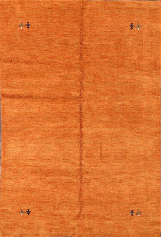Perrotta Gabbeh Oriental Hand-Knotted Wool Orange/Blue Area Rug
