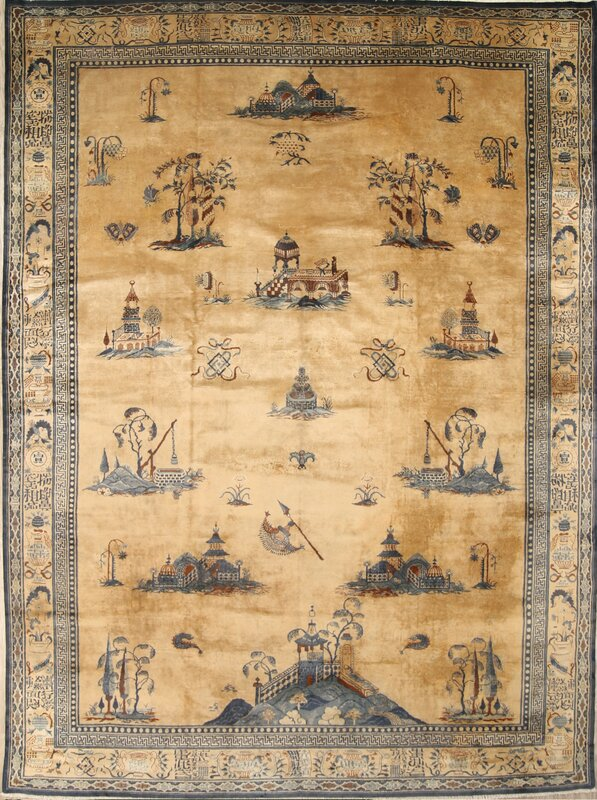 Tavian Peking Chinese Oriental Hand-Knotted Wool Brown/Black Area Rug