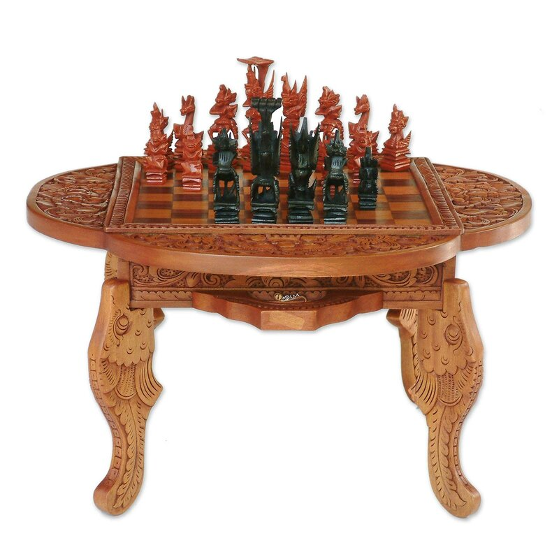 Hand-Carved Wood Chess Set