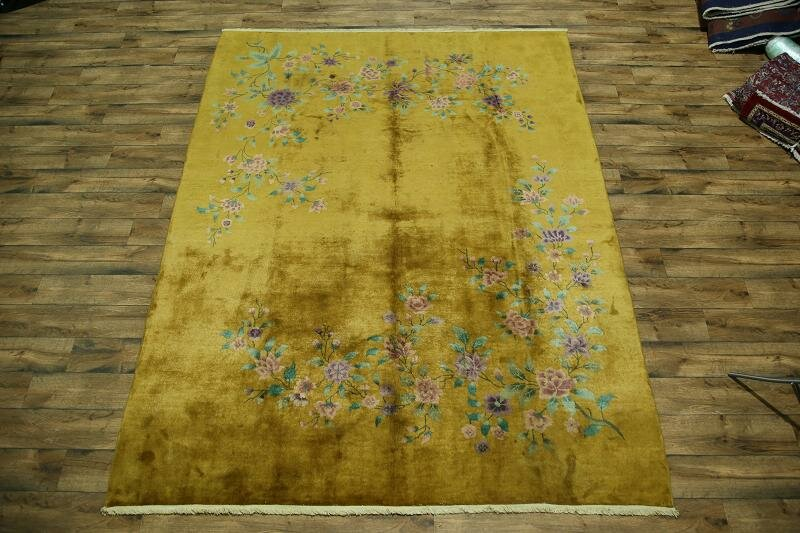 Meadowbrook Art Deco Nichol Chinese Oriental Hand-Knotted Wool Yellow/Gold Area Rug