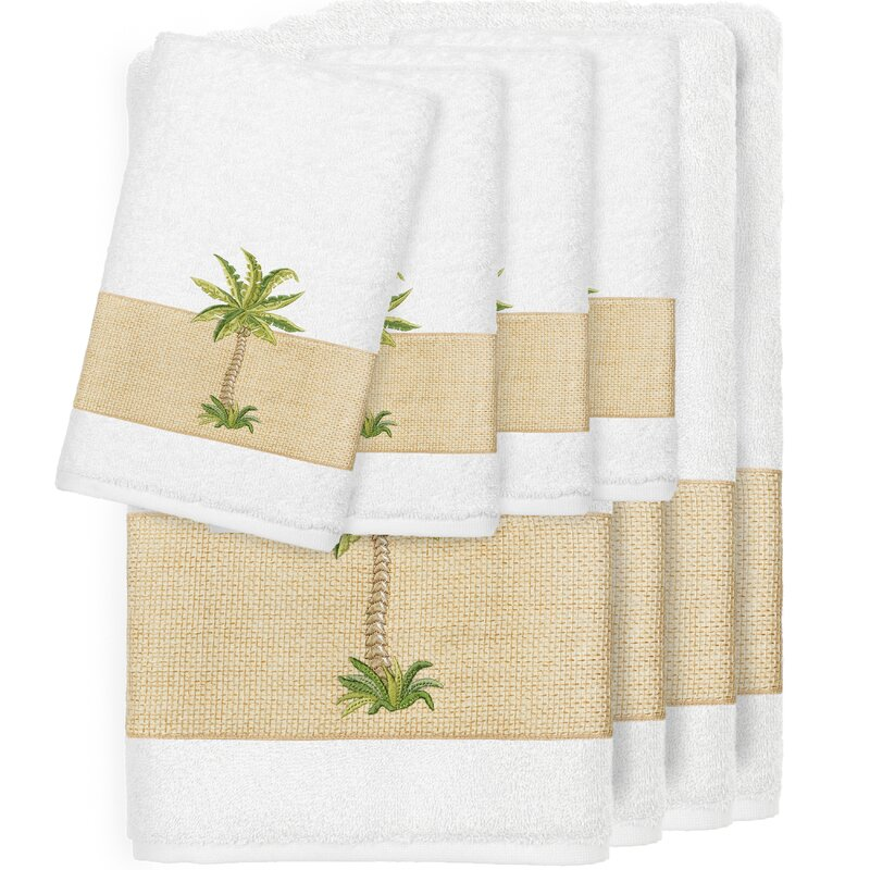 Krupa Embellished 8 Piece 100% Premium Turkish Cotton Towel Set
