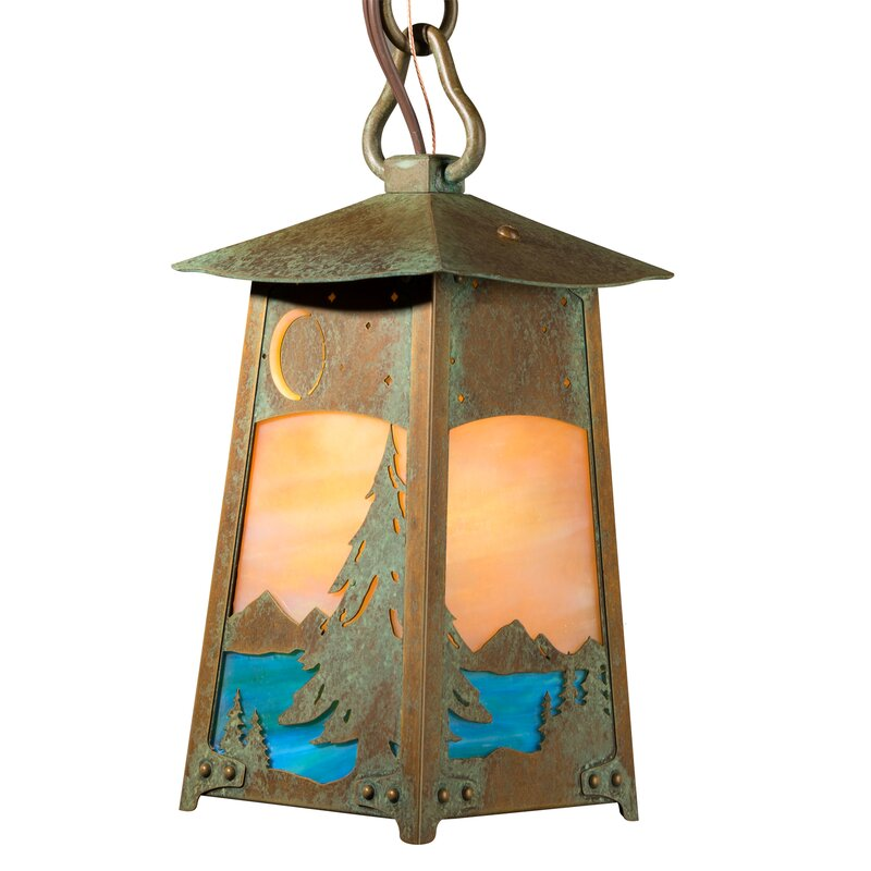 Walthall Spruce and Lake Chain Mount 1-Light Lantern Pendant