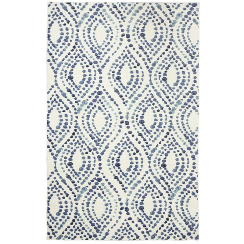 Poston Dotted Ogee Navy Area Rug