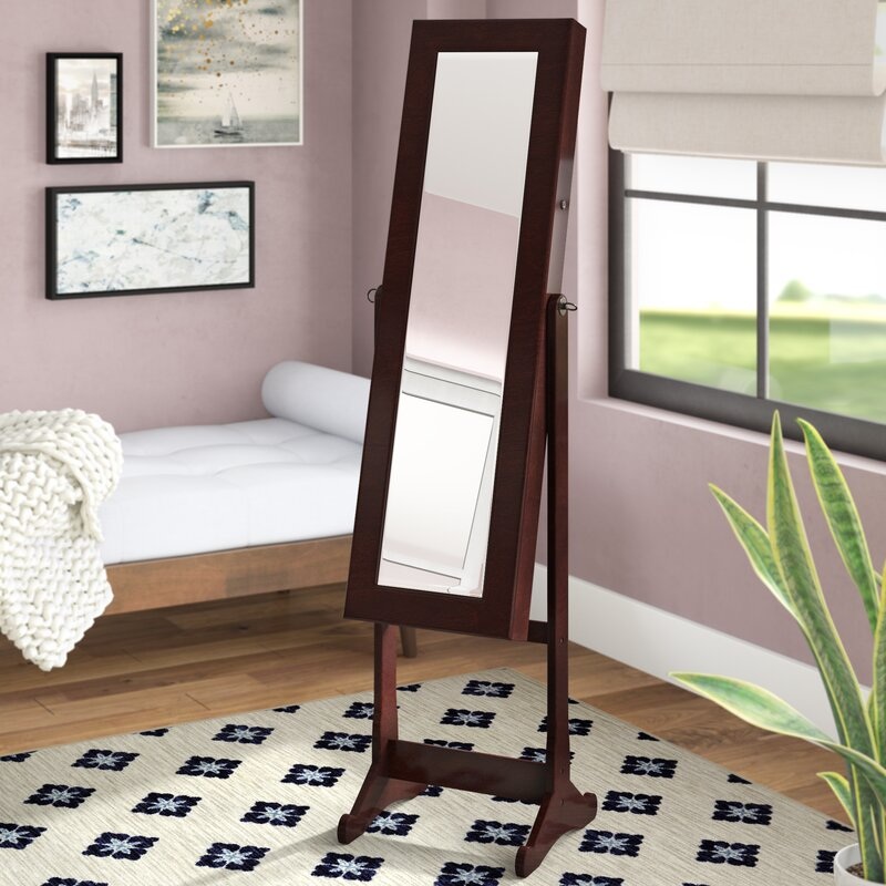 Bohr Floor Standing Jewelry Armoire with Mirror and LED Light