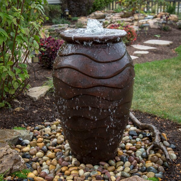 Scalloped Urn Fiberglass and Resin Water Fountain for Outdoor
