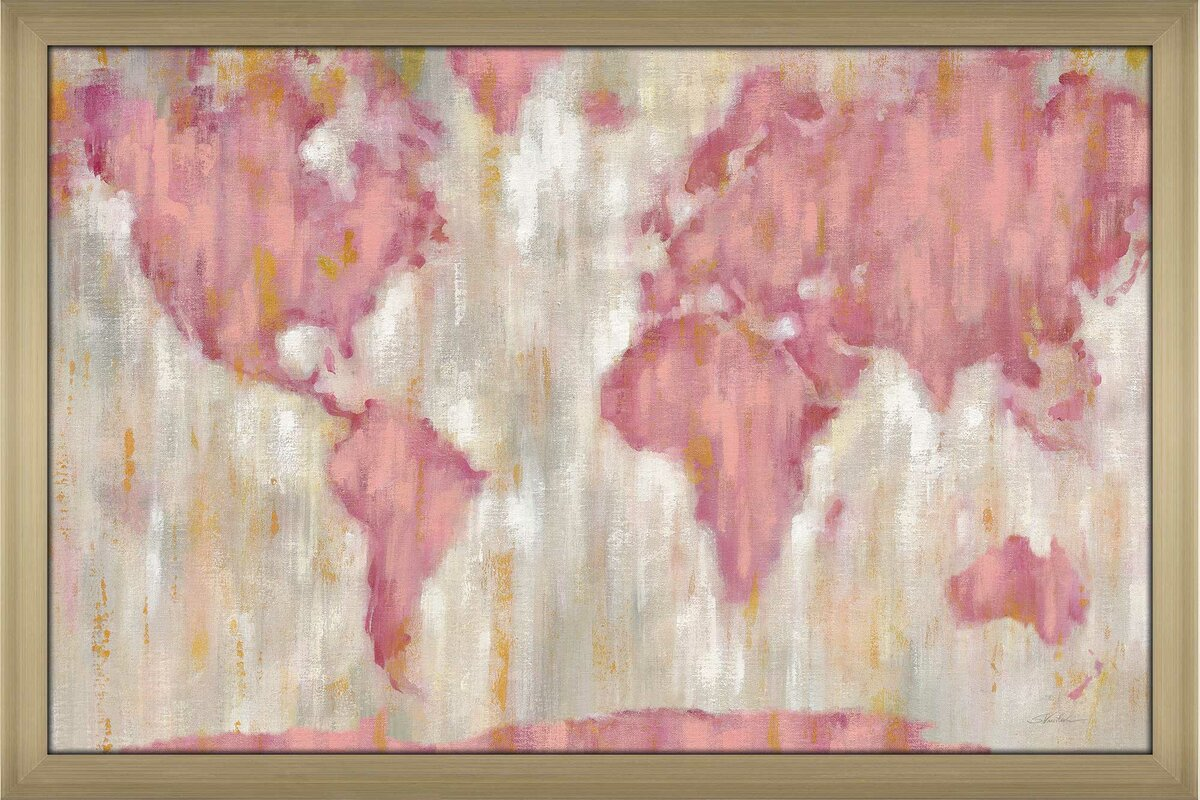 'Blushing World Map v2 Crop' Acrylic Painting Print