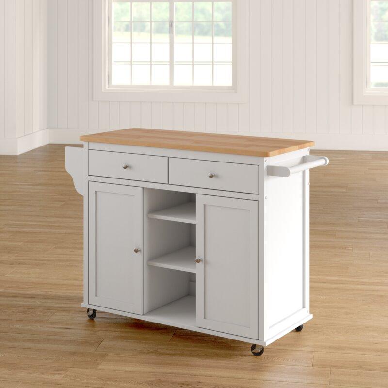 Brecht Kitchen Cart with Wood Top