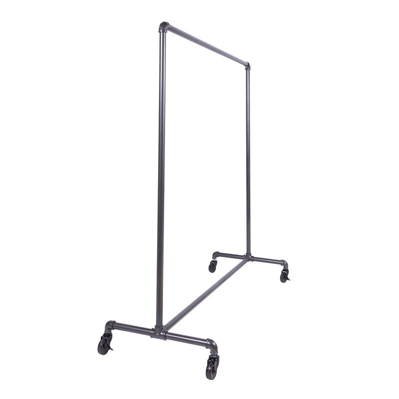"60"" W Pipeline Non-Adjustable Rolling Ballet Bar Clothes and Garment Rack"