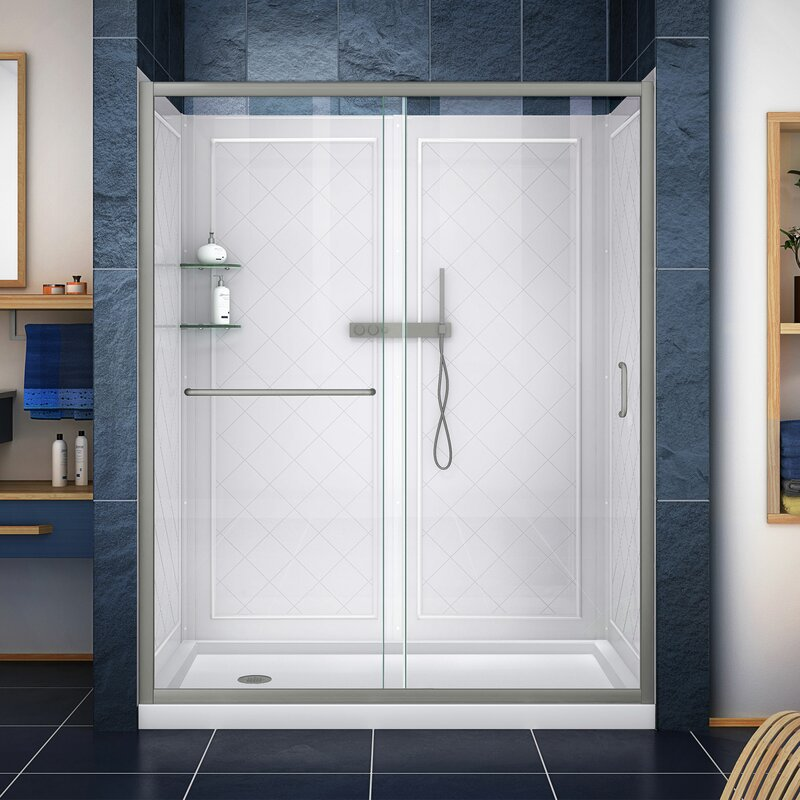 """Infinity-Z 60"""" x 76.75"""" Rectangle Sliding Shower Enclosure with Base Included"""
