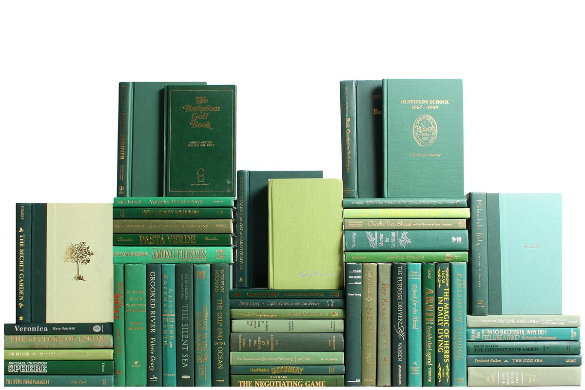 Authentic Decorative Books - By Color Modern Boxwood Book Wall, Set of 50 (5 Linear Feet)