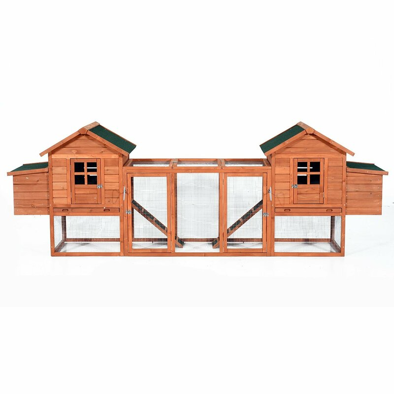 Gaenside Premium Dual Hen House Backyard Chicken Coop with 2 Outdoor Ramps and 2 Nesting Boxes