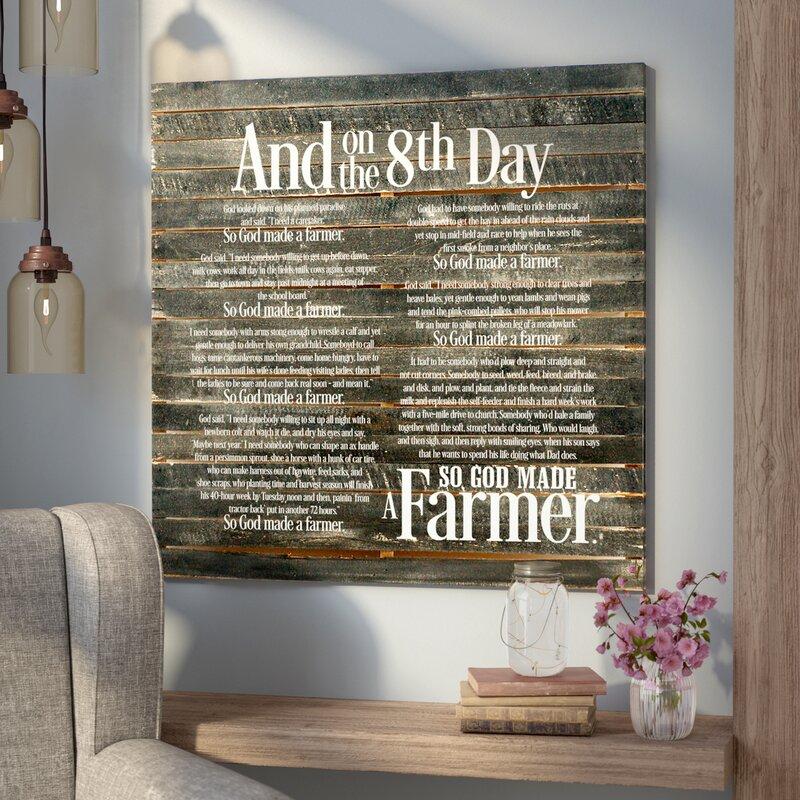 'So God Made a Farmer' Textual Art on Wood in Black