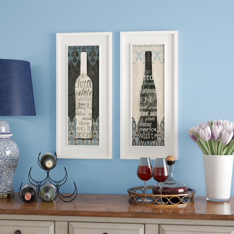 'Wine Collection' 2 Piece Framed Graphic Art Print Set