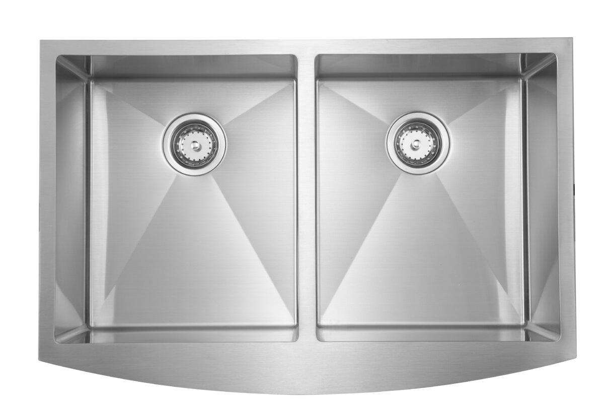 """36"""" L x 22"""" W Double Basin Undermount Kitchen Sink"""